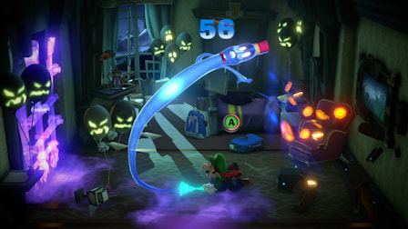 Luigis use Poltergust G-00 to suck up ghosts and slam them to the ground in ScareScraper multiplayer mode.